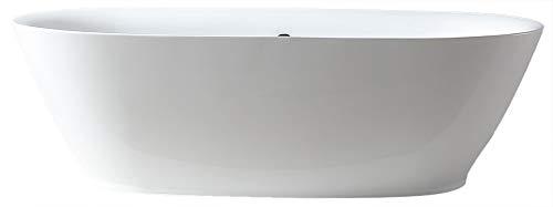 Bernstein Badshop Freistehende Badewanne ROMA ACRYL Standbadewanne in Weiß BS-916 180x84 cm inkl. Ab/Überlauf