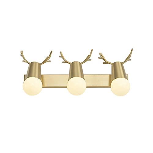 YXLMAONY Lámpara de pared de cobre moderna, lámparas decorativas LED de tres cabezas con forma de asta, espejo de baño, tocador, iluminación, lámpara de pared de vidrio, adecuada para sala de estar, d