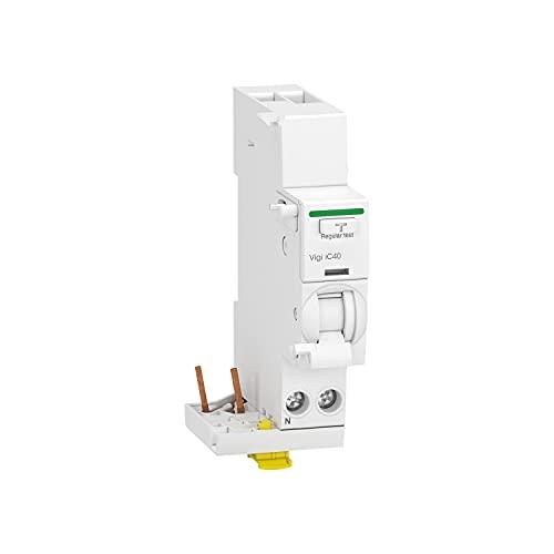 Bloque diferencial Acti9 VIGI IC40, 1P + N, corriente nóminal de 40A, sensibilidad a la fuga a tierra 30mA, clase AC, 7,4 x 3,6 x 9,5 centímetros, color blanco (referencia: A9Y82640)
