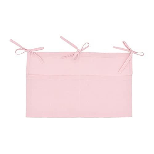 topxingch Bolsa de almacenamiento de juguetes para cama de bebé, doble compartimento de almacenamiento, multifuncional, para dormitorio, color rosa claro
