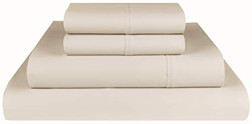 Threadmill Home Linen 600 Thread Count 100% Cotton Sheets, Beige Queen Sheets 4 Piece Cotton Bed Sheet Set, ELS Cotton Bed Sheets Solid Sateen Sheets Fits Mattress Up to 18'' Deep Pocket