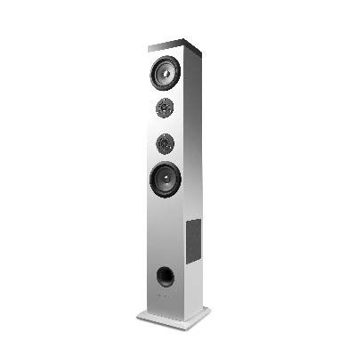 Energy Sistem Tower 5 - Sistema de sonido Bluetooth (60 W, Touch panel, USB/SD y FM) color blanco
