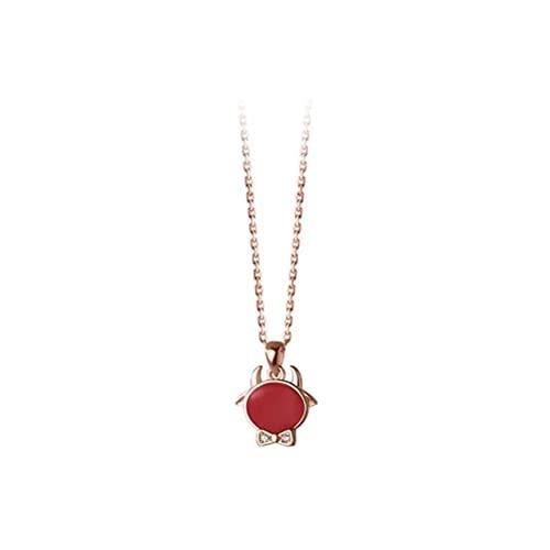 Good dress Collar de Plata S925, Collar de Lazo Y Diamantes de Becerro para Mujeroro rosa, Plata 925