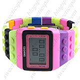 SHHORS Mens Ladies Blocks Constructor Digital LED Luz de fondo de alarma Deporte Reloj LED088