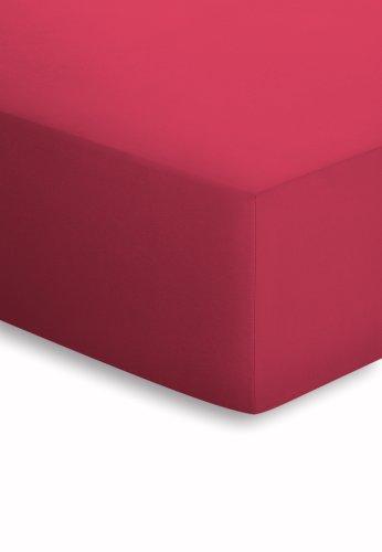 schlafgut Jersey-Elasthan Lenzuolo con Angoli, Cotone/Tessuti Misti, Ciliegia, 220 x 100 x 1 cm