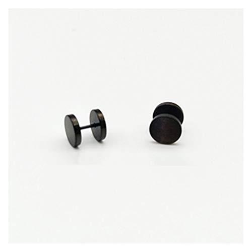 QQINGHAN Un par de pendientes redondos de acero inoxidable negro para mujer, con mancuernas, para hombre, joyería de moda punk (color: negro, tamaño: 10 mm)