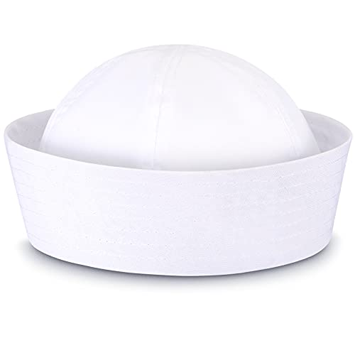 SATINIOR White Sailor Hats Navy Captain Hats Yacht Hat for Teens and Adults Costume, X-Large