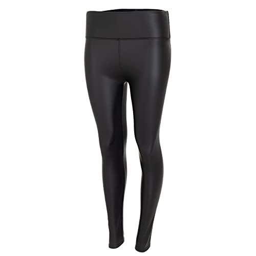 Generisch High Waist Kunstleder Leggings für Damen Curvy Mode Hose Schwarz Gr. L-XL