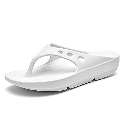 AOV Arch Support Flip Flops for Men and Women,Recovery Orthopedic Thong Sandals for Plantar Fasciitis and Foot Pain Relief White US Women 9 Men 7