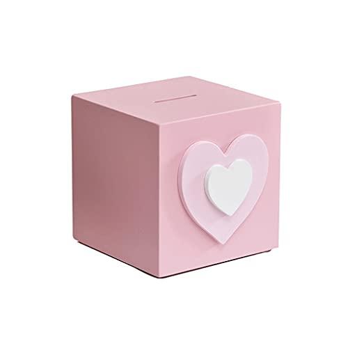 OUMIFA Hucha Pink Love Mini Plaza Piggy Bank Girl Regalo de cumpleaños Día de los niños Regalo o Bookend Kindergarten Decoración Hucha Banco de Monedas Digital