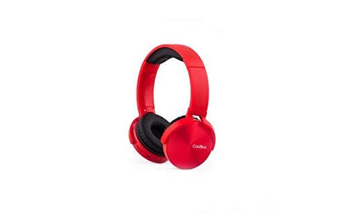 CoolBox CoolMetal – Auriculares bluetooth de diadema (inalámbricos o con cable, plegables, manos libres, microSD, 7 horas autonomía) Rojo