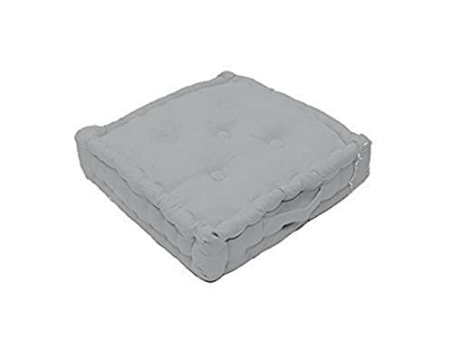 Soleil d'ocre Cojín de Suelo de algodón 50x50x10 cm Panama Gris Claro
