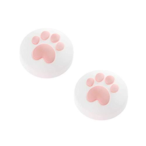2 x Joystick Kappen kompatibel für Nintendo Switch & Lite - Katzenpfoten für besseren Grip und Aussehen - aus weichem Silikon (Weiß/Rosa)