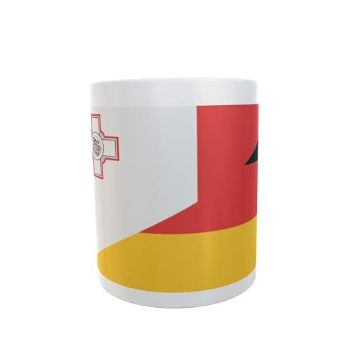 U24 Tasse Kaffeebecher Mug Cup Flagge Malta-Deutschland