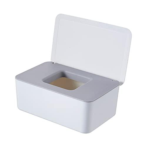 XU Tao Caja de Tejido Mojado Sello de Escritorio Sello de Escritorio Toallitas de bebé Caja de Almacenamiento Dispensador Tapa Tapa (Color : White and Gray)