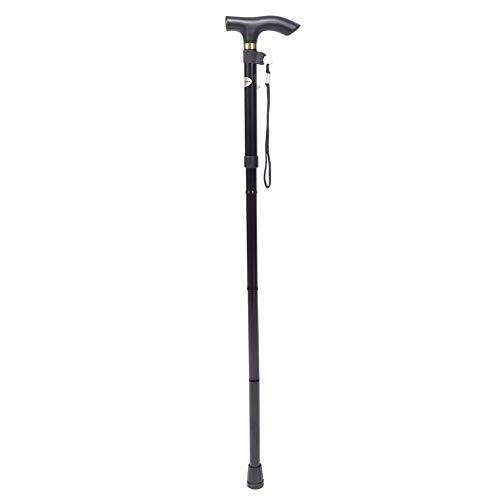 Uxsiya Bastón Plegable portátil de Altura Ajustable antichoque para Ancianos y Escalada(Negro sin luz LED) ⭐