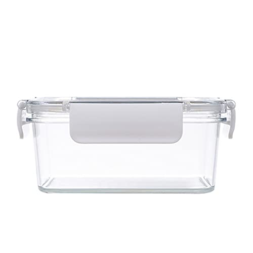 FONDUO - Fiambrera transparente | Fiambrera alimentaria de plástico, caja sellada, caja de conservación alimentaria para frigorífico sin BPA (800 ml), color blanco