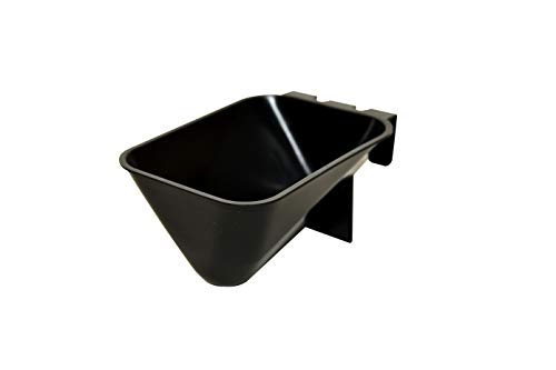 LITTLE FARMER PRODUCTS Chicken Bird Food Coop Cage Cup Feeder Water, V-Shape 8.5 oz Durable Black Plastic, Coop Cup E