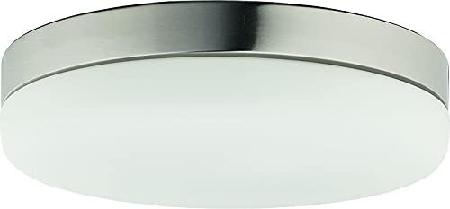 Deckenleuchte Glas Nickel Matt 2-flammig E27 Flach Rund 32cm Deckenlampe Beleuchtung Badezimmer