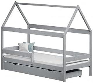 Children's Beds Home - Lit simple en forme de maison - Teddy - Lit simple - Teddy - 160 x 80 cm, gris, grand lit simple, m...