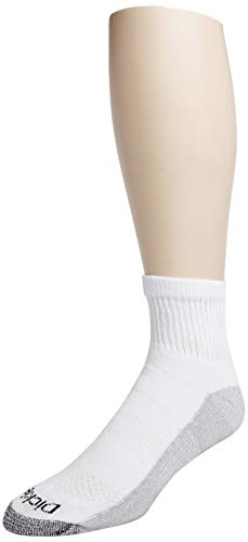 Dickies Men's Big and Tall Dri-tech Moisture Control Quarter Socks Multipack, White (6 Pairs), Shoe Size: 12-15