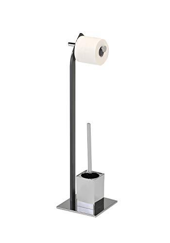 porte papier toilette sur pied compact en m/étal iDesign distributeur papier toilette avec espace pour rouleaux de rechange support papier toilette pour 4 rouleaux argent/é