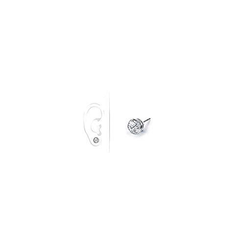 Mens 18K White Gold Bezel Set Round Diamond Stud Earrings 0.50 CT. TW.