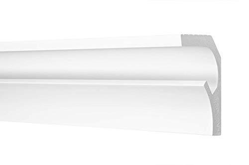 LED Zierleiste 115x90cm - effektvolle Deckengestaltung mit indirekter Beleuchtung - Stuckleiste aus hartem Styropor, leicht und stabil - 2 Meter Leiste, CK25