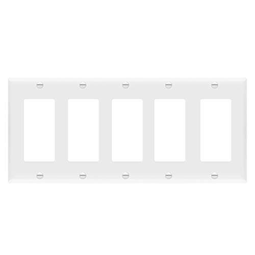 """ENERLITES Decorator Light Switch or Receptacle Outlet Wall Plate, Size 5-Gang 4.50"""" x 10.03"""",Polycarbonate Thermoplastic, 8835-W, White New Jersey"""
