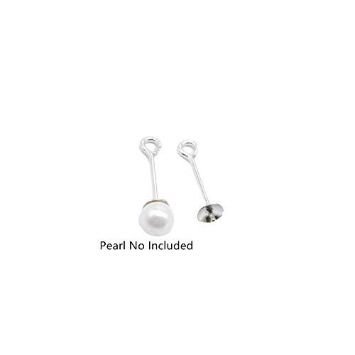 Lot de 10 pinces à œillet en argent sterling pour perles semi-percées - Pour boucles d'oreilles, fabrication de bijoux en perles
