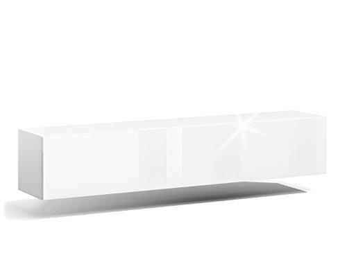 RODRIGO TV Lowboard Hängeboard Hochglanz Board Schrank Wohnwand weiß 160cm (korpus matt weiß Front weiß Hochglanz)