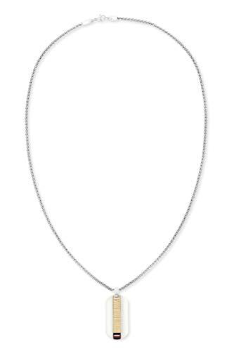 Tommy Hilfiger Casual Herren Halskette mit Metallband und Karabinerverschluss, aus Edelstahl und in der Farbe Silber, Gesamtlänge 61cm und goldenem Anhänger, 2790138