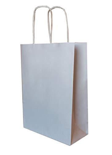 50 Papiertragetaschen mit Kordel - Kordeltragetasche in weiß 22+10x28 cm - good4food