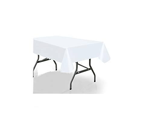 Vessel Goods 12-Pack Premium Disposable Plastic Tablecloth 54'x108' White Rectangular Table Cover