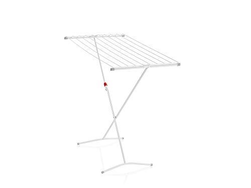 Leifheit Standtrockner Classic 100 Easy, schmaler Wäscheständer mit 10 m Trockenlänge für 1 Waschmaschineneladung, standfester Trockenständer mit Kindersicherung und Fußkappen, Wäscheständer