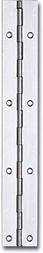 Gedotec Klavierband zum Montieren gerollt Türband für Schränke, Truhen, Möbel-Türen   Länge: 1200 mm   Breite: 20 mm   Türscharnier Stahl vernickelt   1 Stück - Möbelscharnier Metall zum Schrauben