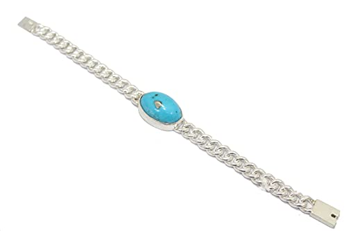 Rajasthan Gems Pulsera para hombre, plata de ley 925, cadena de eslabones pesados, piedra turquesa C