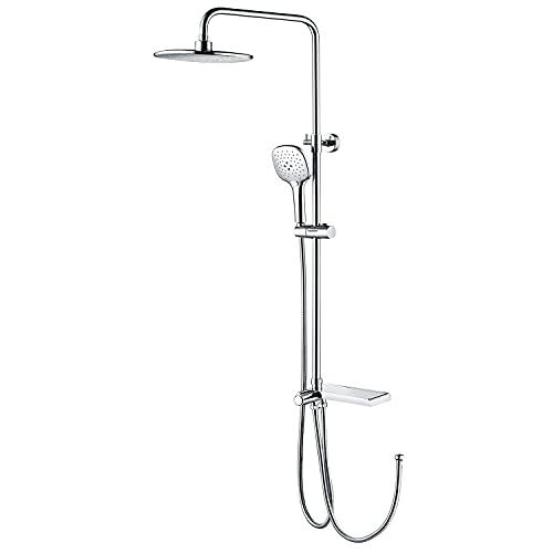 """Lonheo Columna de ducha sin grifo,Barra de ducha ajustable en altura (86,8 cm a 113,3 cm), Conjunto de ducha con repisa de ABS, Con ducha de lluvia de 9"""" y 3 funciones teleducha"""