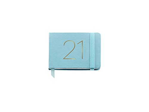 MIQUELRIUS - Agenda 2021 Chester - Español, Semana Vista, Papel 70g, Cubierta Símil Piel, Color Aguamarina, Tamaño 74 x 105 mm