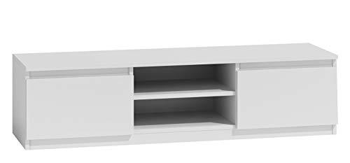 Mirjan24 TV Lowboard Monero 140, Fernsehschrank, Fernsehtisch, TV Tisch, Board, Schrank, B:140 cm, H:36 cm, T:40 cm, TV-Bank (Weiß)