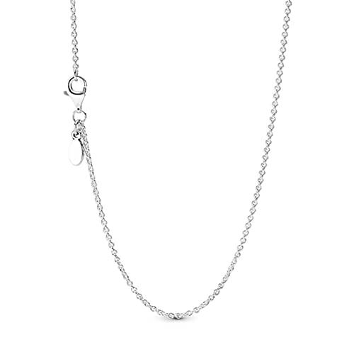 TTGE Nuevo 100% Plata de Ley 925 sartén clásica Cadena de Cable Brillante Copo de Nieve Collier Luna Estrellas Collar de corazón
