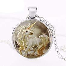 1 unids/lote lindo unicornio logotipo colgante collar Pegasus Steed caballo superventas hecho a mano redondo resina vintage Neckalce joyería
