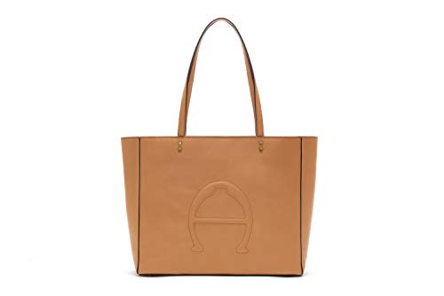 Etienne Aigner Adeline Leather Logo Tote in Biscuit