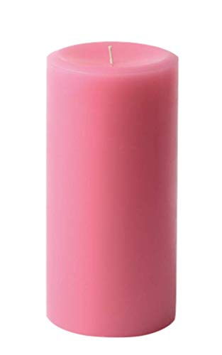 3' x 6' Hand Poured Solid Color Unscented Pillar Candles Set of 3 - Made in USA (Pink)