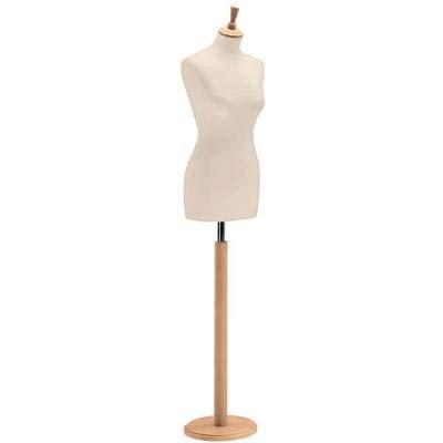 arredoterminal one Busto de Mujer Base Redonda de Madera tapón Cilíndrico Busto de Poliestireno de Crudo Barra, Ajustable en Altura modista de sastrería Costura