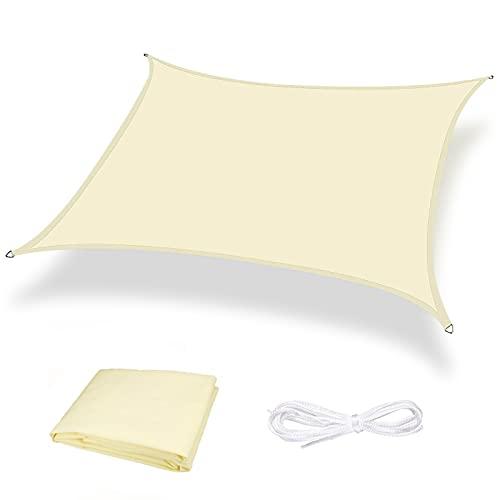 Moboo Toldo parasol para balcón, protección contra la intemperie, impermeable, resistente al viento, PES 420D, 96 % protección UV para jardín, exterior, cuadrado, color blanco crema.
