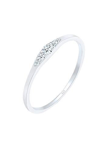 DIAMORE Ring Damen Verlobungsring mit Diamant (0.09 ct) Bridal in 925 Sterling Silber