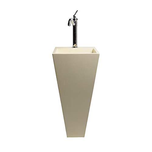 wohnfreuden Terrazzo Waschtisch-Säule 40x40x90cm Creme mit Armaturloch Standwaschbecken