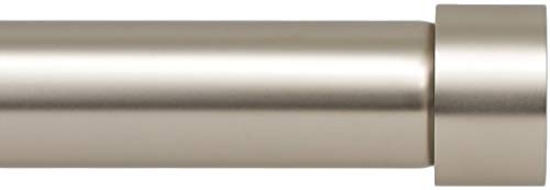 Ivilon Drapery Window Curtain Rod - End Cap Style Design 1 Inch Pole. 48 to 86 Inch Color Satin Nickel