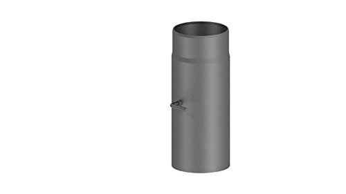 Ofenrohr / Kaminrohr / Rauchrohr mit Drosselklappe, 300 mm Länge und 150mm Durchmesser, gussgrau